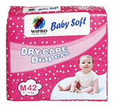 Wipro Baby Soft Dry Care Diapers Medium - 42 Pieces