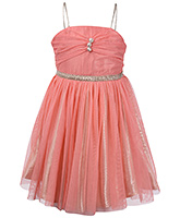 SAPS Singlet Net Party Frock Peach