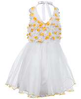 SAPS Halter Neck Net Frock With Gathered Bodice Yellow