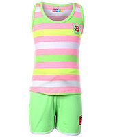 SAPS Sleeveless T Shirt and Shorts Set - Light Green