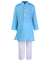 Babyhug Full Sleeves Self Stripe Kurta Pajama Set - Blue