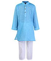 Buy Babyhug Full Sleeves Self Stripe Kurta Pajama Set - Blue