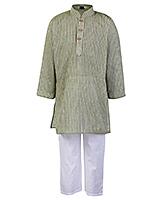 Buy Babyhug Full Sleeves Self Stripe Kurta Pajama Set - Olive Green