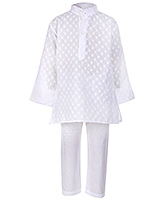 Babyhug Full Sleeves Chikan Embroidery Kurta And Pajama - White