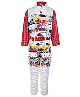 Formula 1 Full Sleeves Shirt Jacket And Trouser Set - White