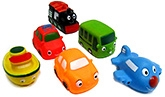 Buy Marbles Squeeze Transport Vehicles Shaped Bath Toys - Set of 6