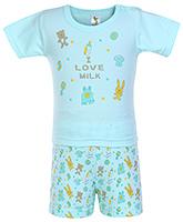 Buy Cucumber Half Sleeves Night Suit I Love Milk Print - Green