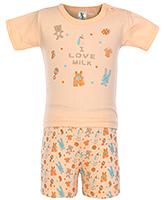 Buy Cucumber Half Sleeves Night Suit I Love Milk Print - Orange