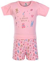 Buy Cucumber Half Sleeves Night Suit I Love Milk Print - Pink