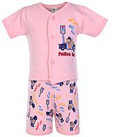 Buy Cucumber Half Sleeves Night Suit Police Print - Pink
