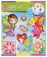 Fab N Funky Room Decor 3D Foam Girl Butterfly Stickers