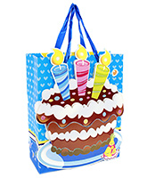 Fab N Funky Candle Print Gift Bag- Blue