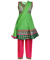 Babyhug Sleevless Kurta And Chudidaar Set Green - Anarkali Pattern