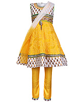 Babyhug Sleeveless Anarkali Kurta And Chudidaar Yellow - Lace Neckline