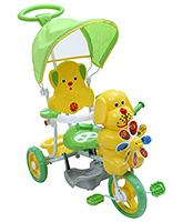 Fab N Funky Tricycle With Canopy N Push Handle Puppy Face - Green and Yellow