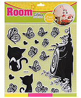 Fab N Funky Room Decor Pop Up Stickers- Butterfly and Cat Print