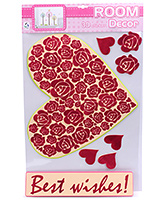 Fab N Funky Room Decor 3D Stickers- Heart with Roses