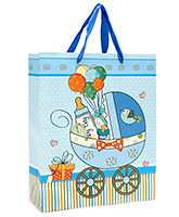 Buy Fab N Funky Baby Cycle Printed Gift Bag- Blue
