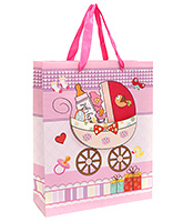 Buy Fab N Funky Baby Cycle Printed Gift Bag- Pink