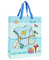 Fab N Funky Baby Shirt Printed Gift Bag- Blue