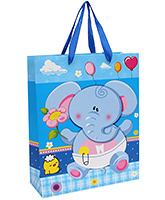 Buy Fab N Funky Elephant Printed Gift Bag- Blue