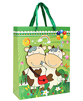 Buy Fab N Funky Cows Printed Gift Bag- Green