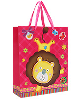 Buy Fab N Funky Lion Printed Gift Bag- Red