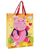 Buy Fab N Funky Hippo Printed Gift Bag- Orange