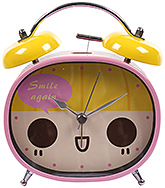 Fab N Funky Smile Again Print Alarm Clock- Pink and Yellow