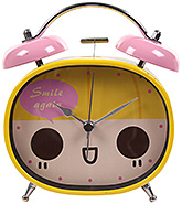 Fab N Funky Smile Again Print Alarm Clock- Yellow and Pink