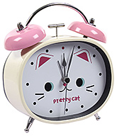 Buy Fab N Funky Pretty Cat Print Alarm Clock- Pink and Cream