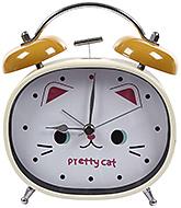 Buy Fab N Funky Pretty Cat Print Alarm Clock- Khaki and Cream