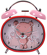 Fab N Funky Bear and Flower Print Alarm Clock- Red and Pink