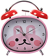 Fab N Funky Rabbit Face Print Alarm Clock- Pink and Red
