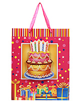 Buy Fab N Funky Cake and Candles Print Gift Bag- Pink