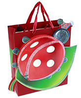 Fab N Funky Lady Bug Print Gift Bag- Red