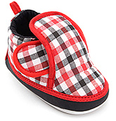 Buy Littles Red And Black Check Print Baby Booties