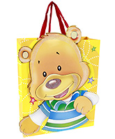 Buy Fab N Funky Bear Print Gift Bag- Yellow