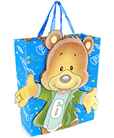 Fab N Funky Smiley Bear Print Gift Bag- Blue