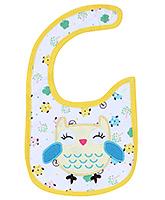Buy Carters Owl Print Baby Bib- Yellow and White