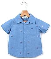 Buy Beebay Half Sleeves Shirt Blue - Ship Embroidery