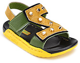 Buy Doink Dual Color Sandals with Studs and Velcro Strap - Green and Yellow