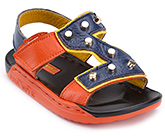Buy Doink Dual Color Sandals with Studs and Velcro Strap - Orange and Blue