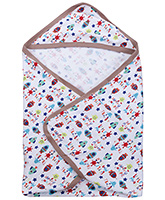 Buy Babyhug Multi Print Hooded Wrapper- White and Beige