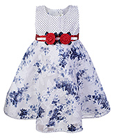 Buy Babyhug Sleeveless Frock Blue - Flower Print