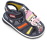 Buy Cute Walk Sandals with Baby Girl Face Applique - Blue
