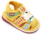 Buy Cute Walk Sandals With Cow Motif - Yellow