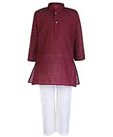 Buy Babyhug Full Sleeves Stand Collar Kurta And Pajama Set - Dark Maroon