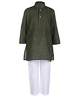 Buy Babyhug Full Sleeves Stand Collar Kurta And Pajama Set