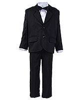 SAPS Full Sleeves Four Piece Party Suit With Self Stripe Print - Black